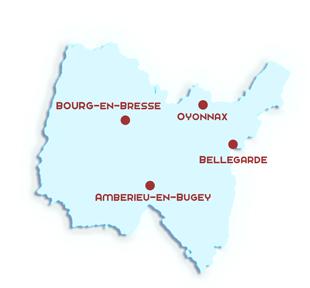 Carte du département de l'Ain avec les principales villes