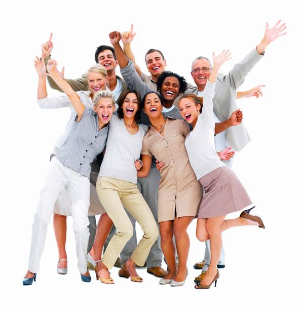 des gens heureux de communiquer sur des réseaux sociaux