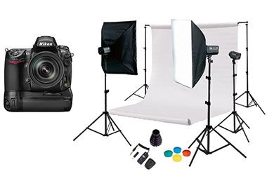 Photographie d'un appareil photo Nikkon et d'un studio photo avec fond blanc amovible
