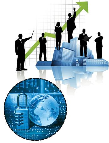 Des silhouettes d'hommes et de femmes prenant des décisions pour leur business Internet